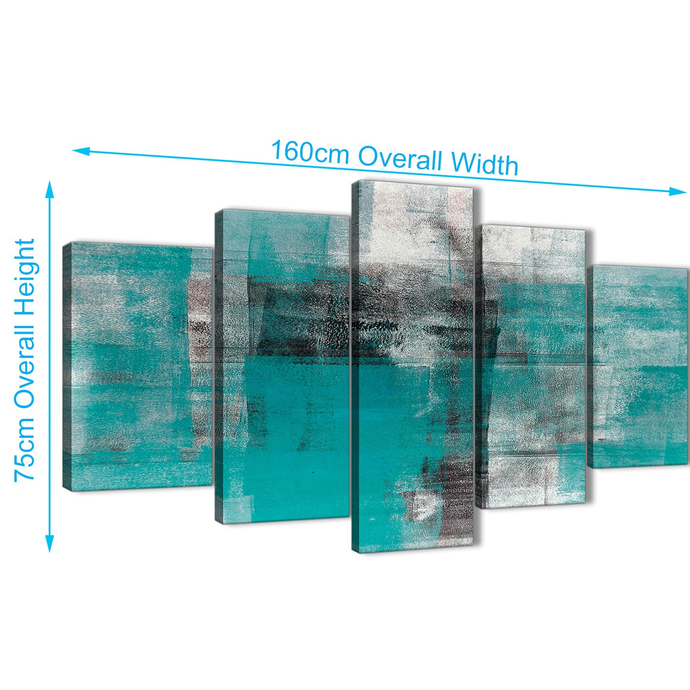 Bedroom Canvas Wall Art Uk: 5 Part Teal Black White Painting Abstract Office Canvas