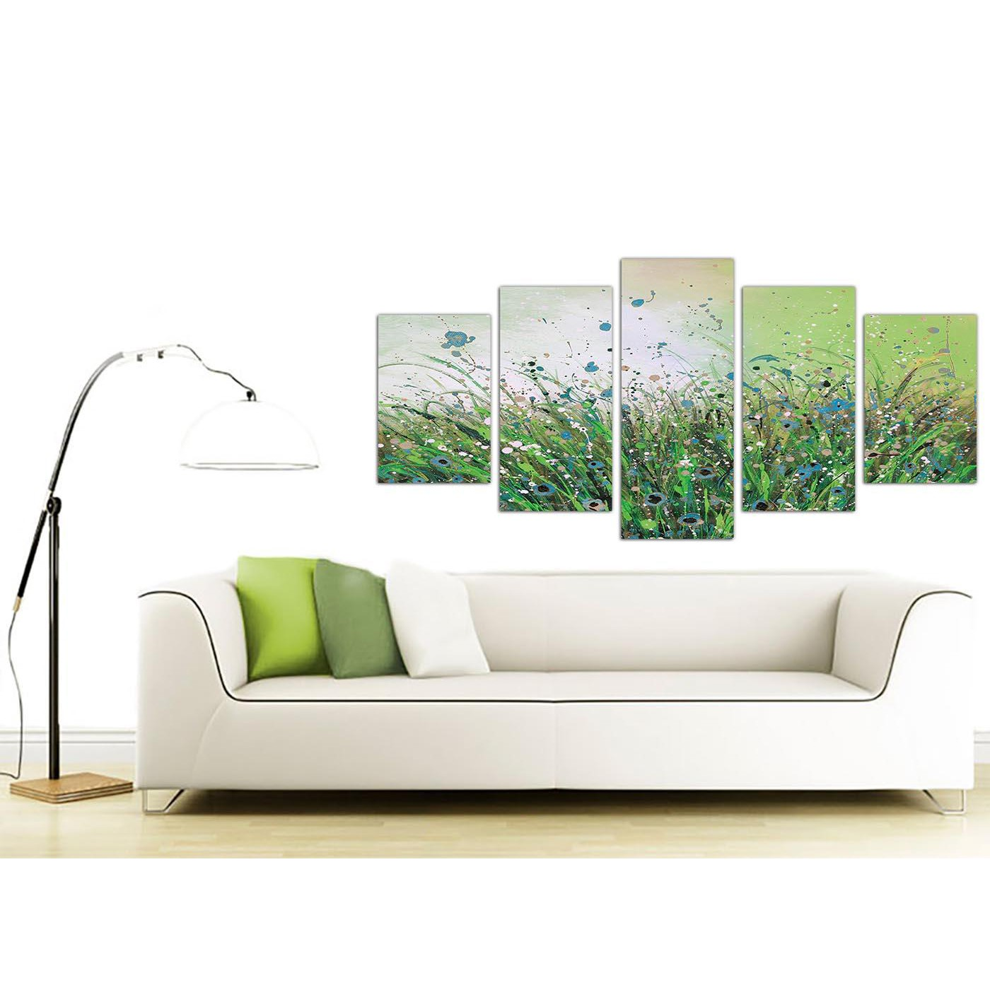 Large Art For Living Room Uk: Extra Large Floral Abstract Canvas Wall Art In Green