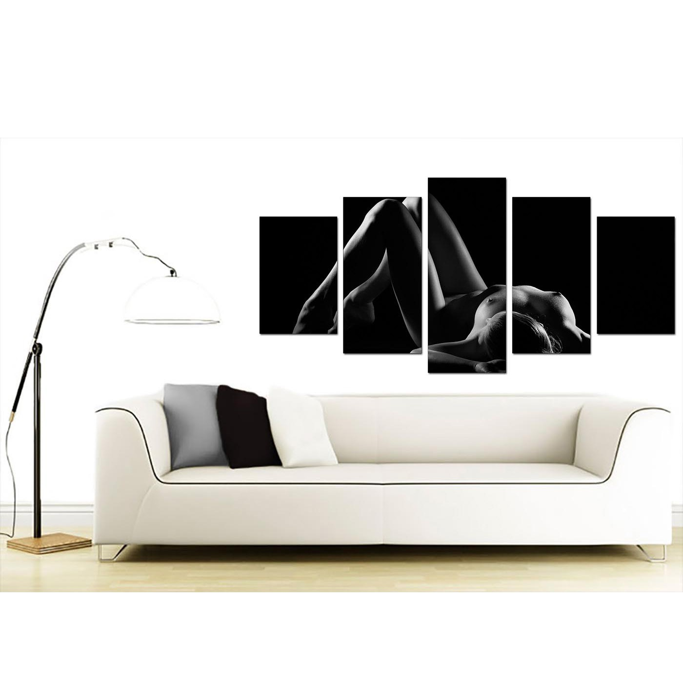 Extra Large Bedroom Woman Canvas Prints UK 5 Panel in Black & White