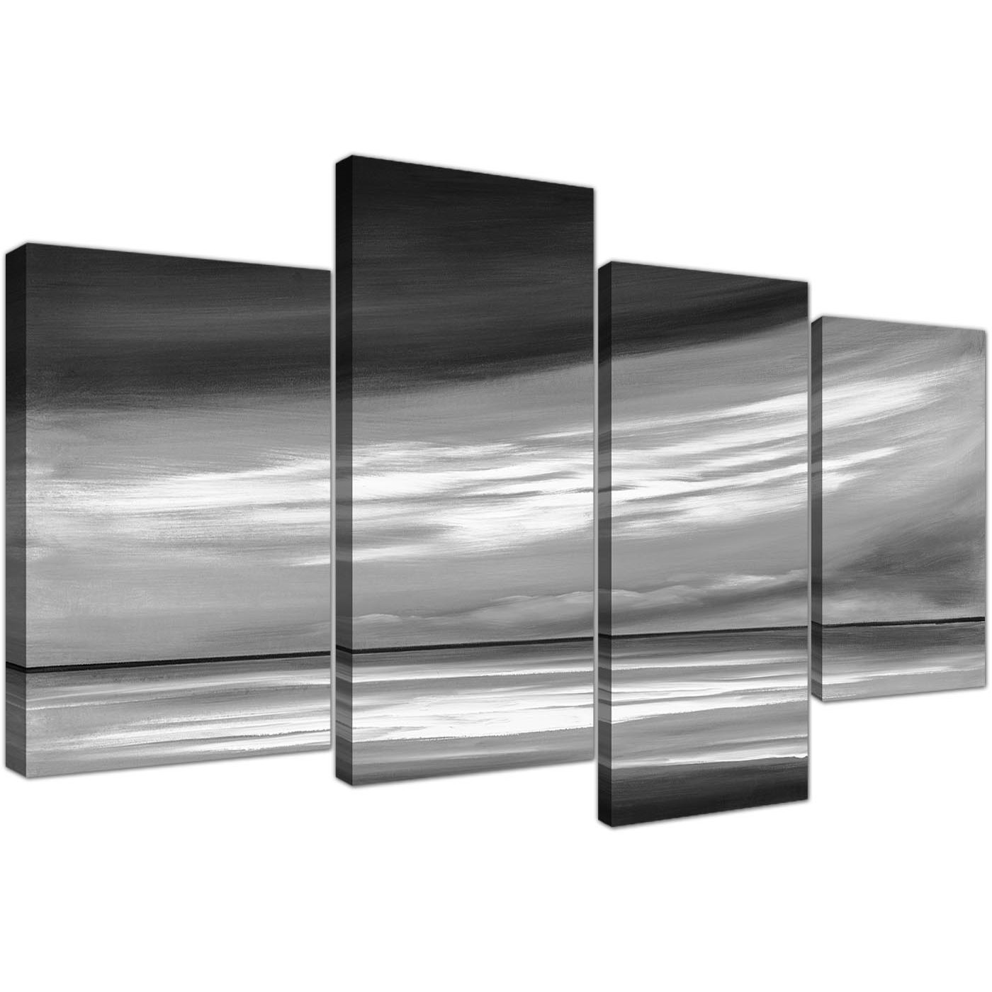 Black White Grey Abstract Beach Scene Abstract Canvas 4 Panel 130cm 4272