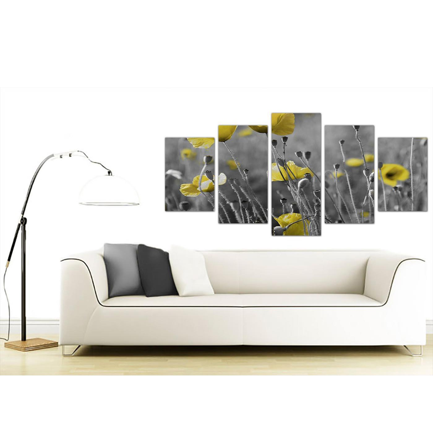 Large Canvas Prints of Grey and Yellow Poppies in Black & White