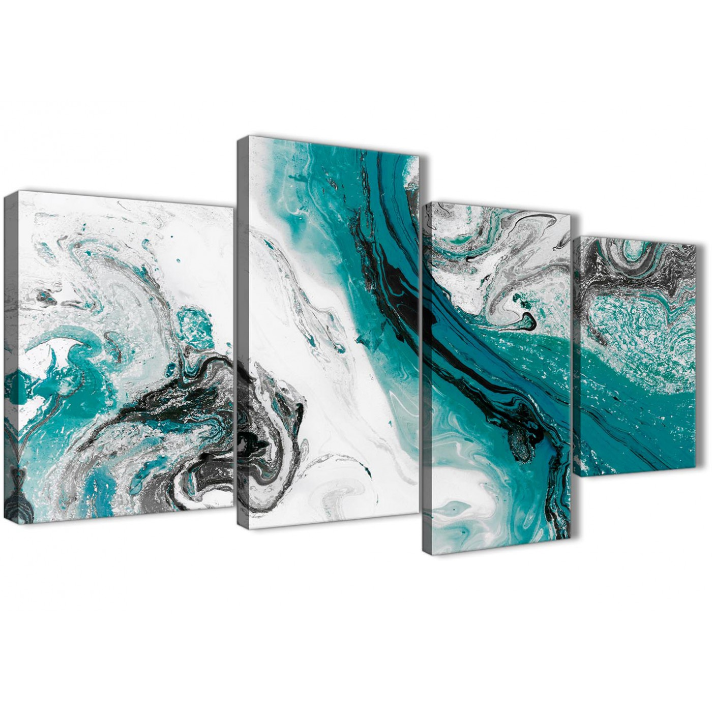 Teal And Grey Swirl Living Room Canvas Wall Art Accessories