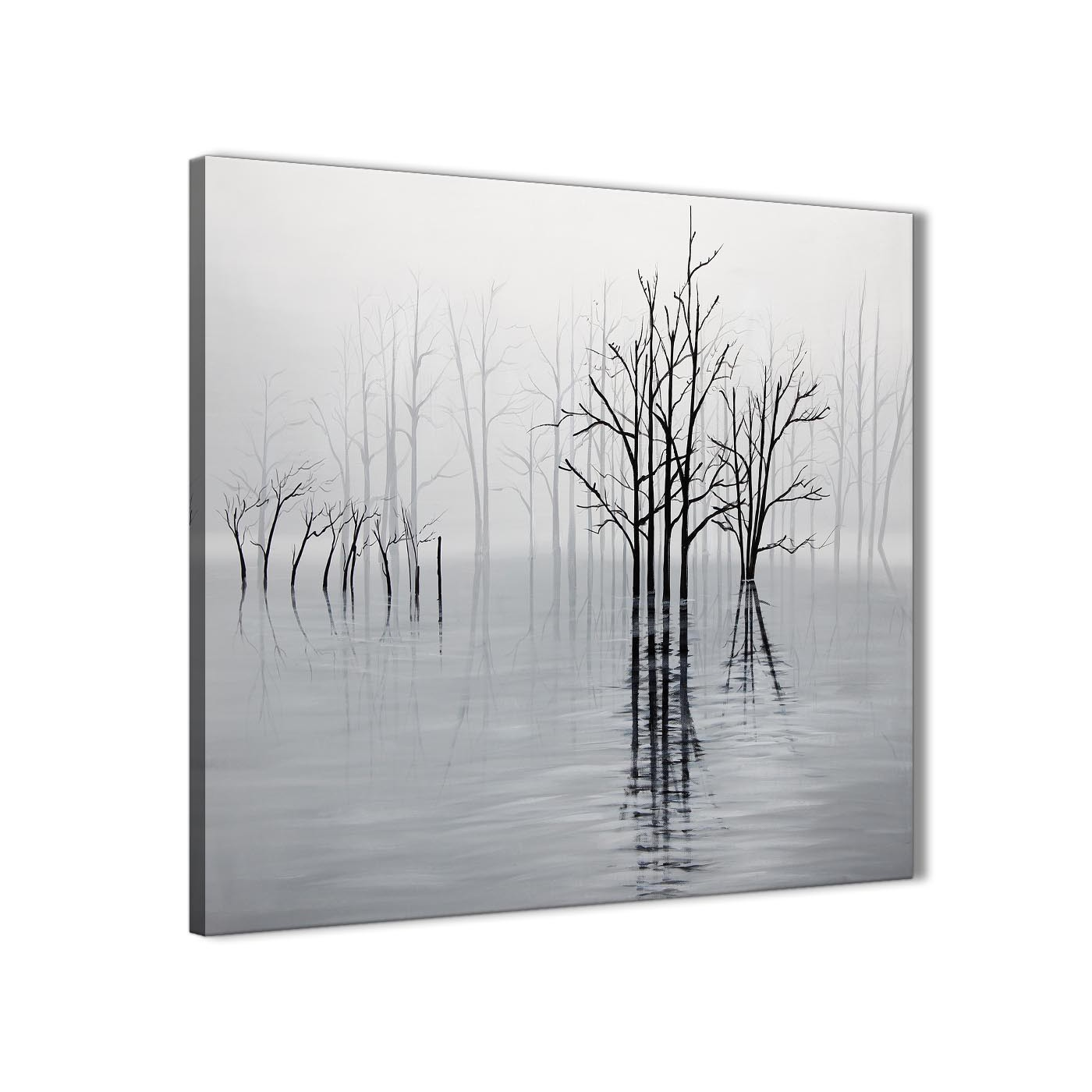 Black White Grey Tree Landscape Painting Stairway Canvas Wall Art ...
