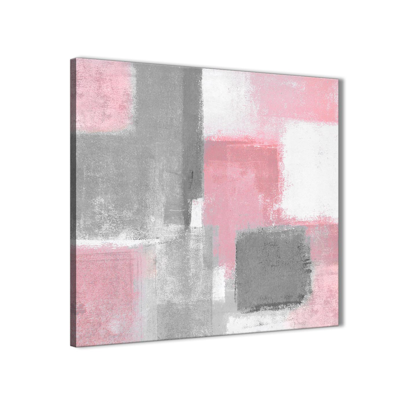 Framed Blush Pink Grey Painting Living Room Canvas Wall Art Decorations    Abstract 1s378m   64cm Display Gallery Item 1 ...