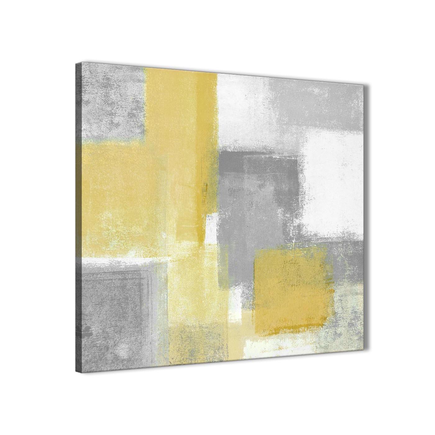 Mustard Yellow Grey Kitchen Canvas Wall Art Decorations - Abstract ...