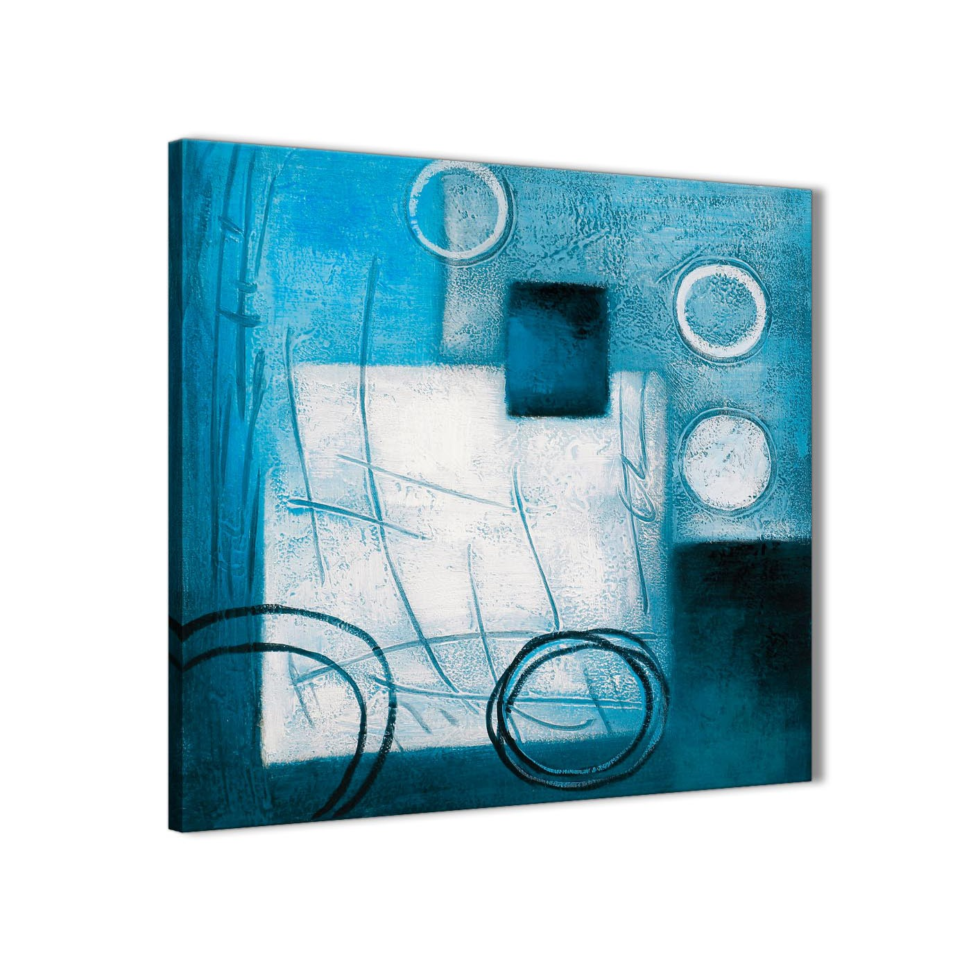 Framed teal white painting hallway canvas wall art decor abstract 1s432m 64cm square print display gallery item 1