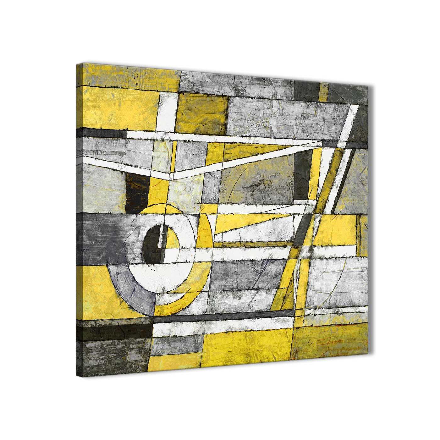 Yellow Grey Painting Stairway Canvas Wall Art Decorations - Abstract ...