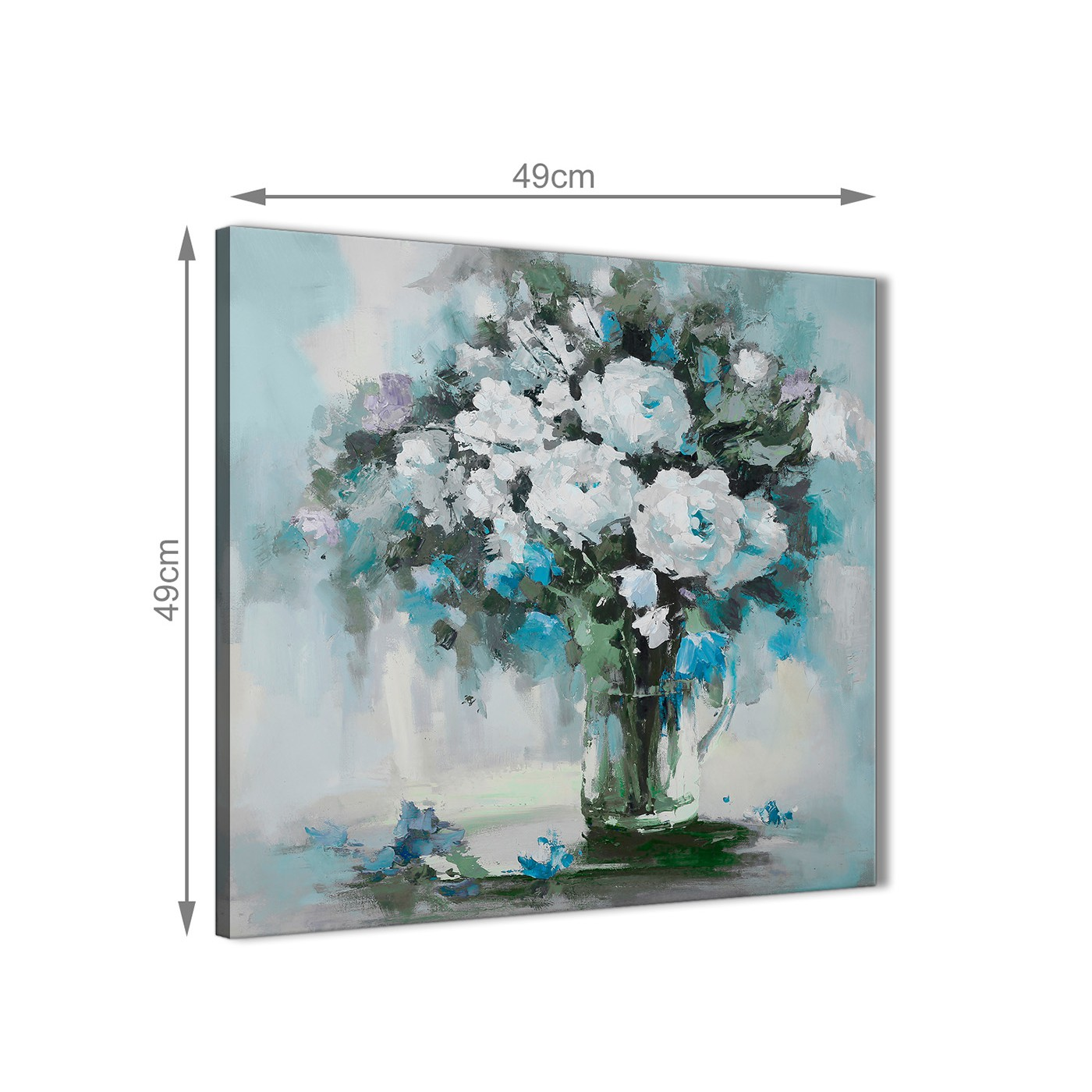 Teal white flowers painting bathroom canvas wall art for White canvas painting