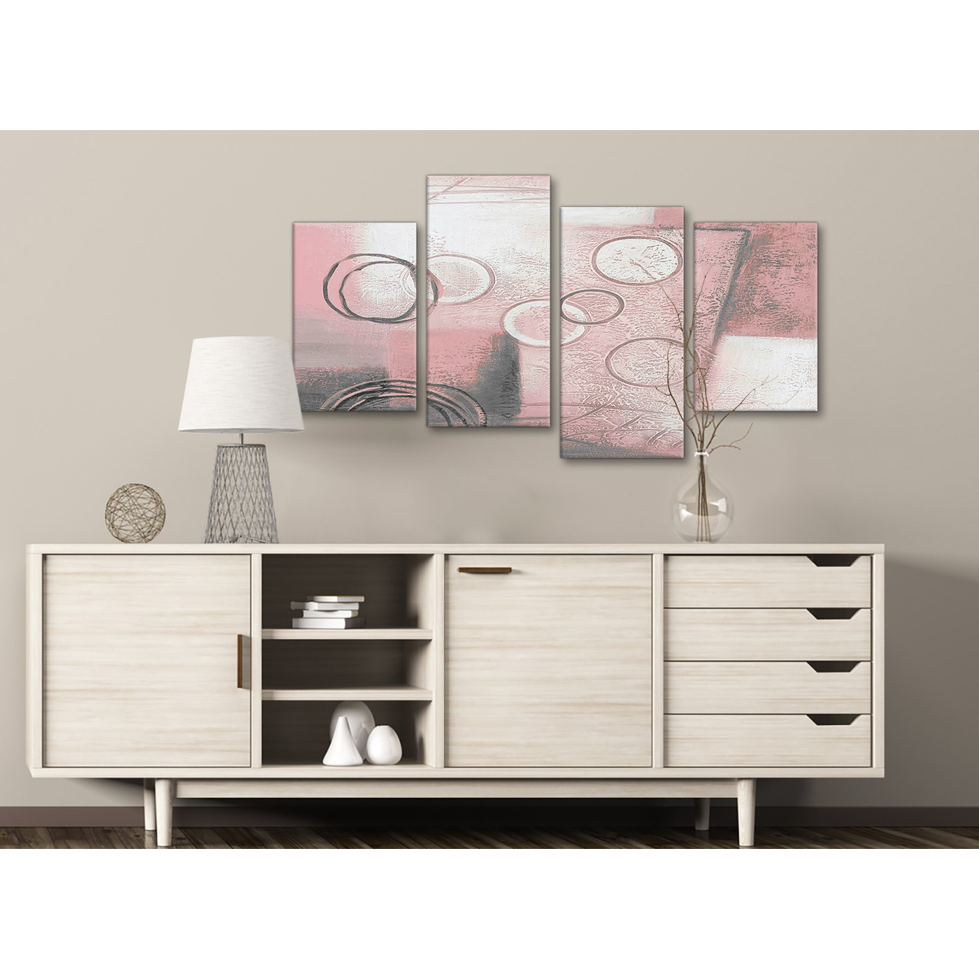 Display Gallery Item 2 4 Piece Large Blush Pink Grey Painting Abstract Living Room Canvas Pictures Decor