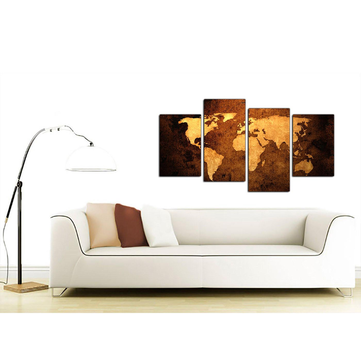 Canvas pictures of a world map in brown for your bedroom display gallery item 1 world map canvas wall art in tan for the home display gallery item 2 gumiabroncs Images