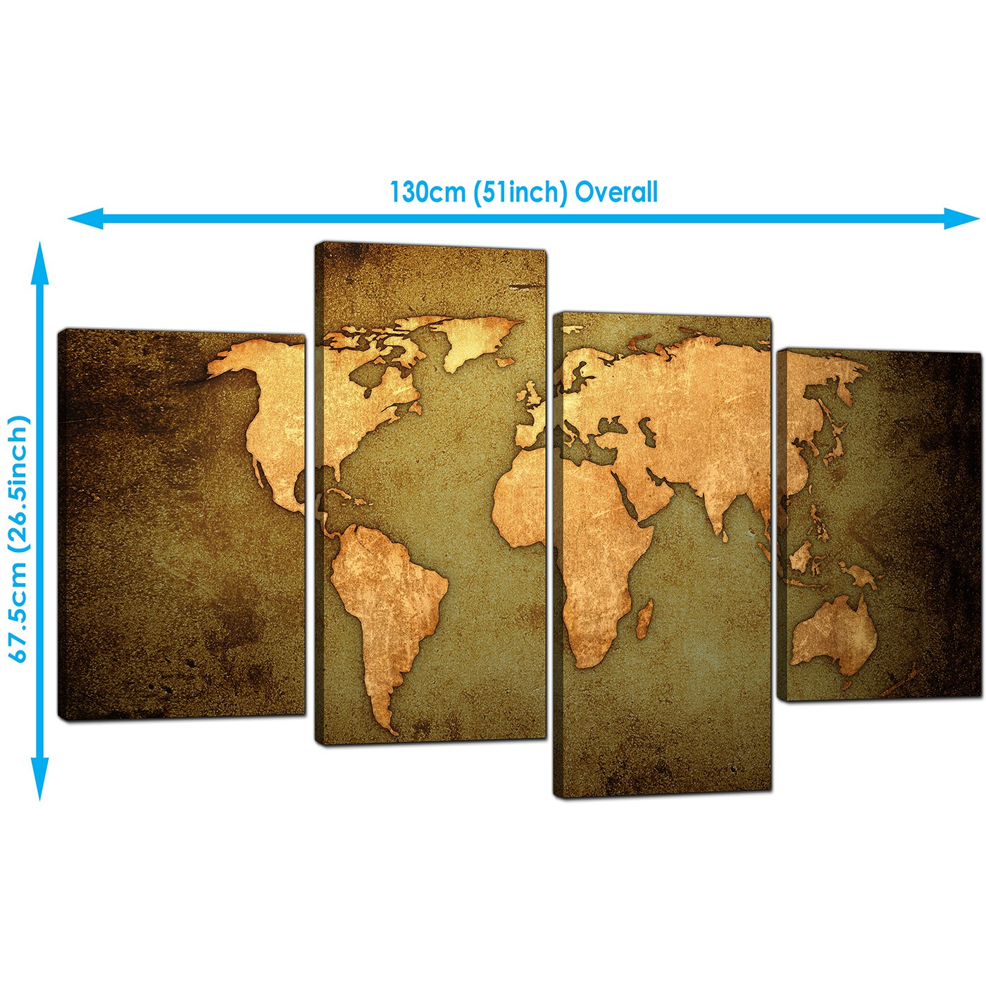 Canvas prints of a world map in green and brown for your living room display gallery item 5 world map canvas wall art in green and tan leather effect display gallery item 6 gumiabroncs Image collections
