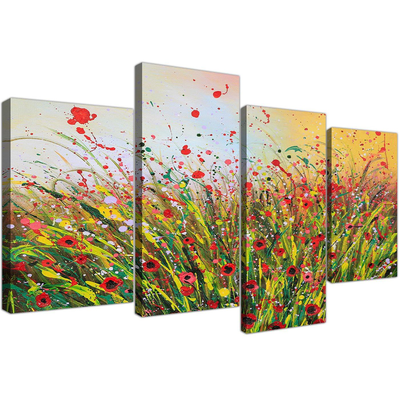 Modern Abstract Summertime Flowers Red Floral Canvas Set Of 4 130cm 4262