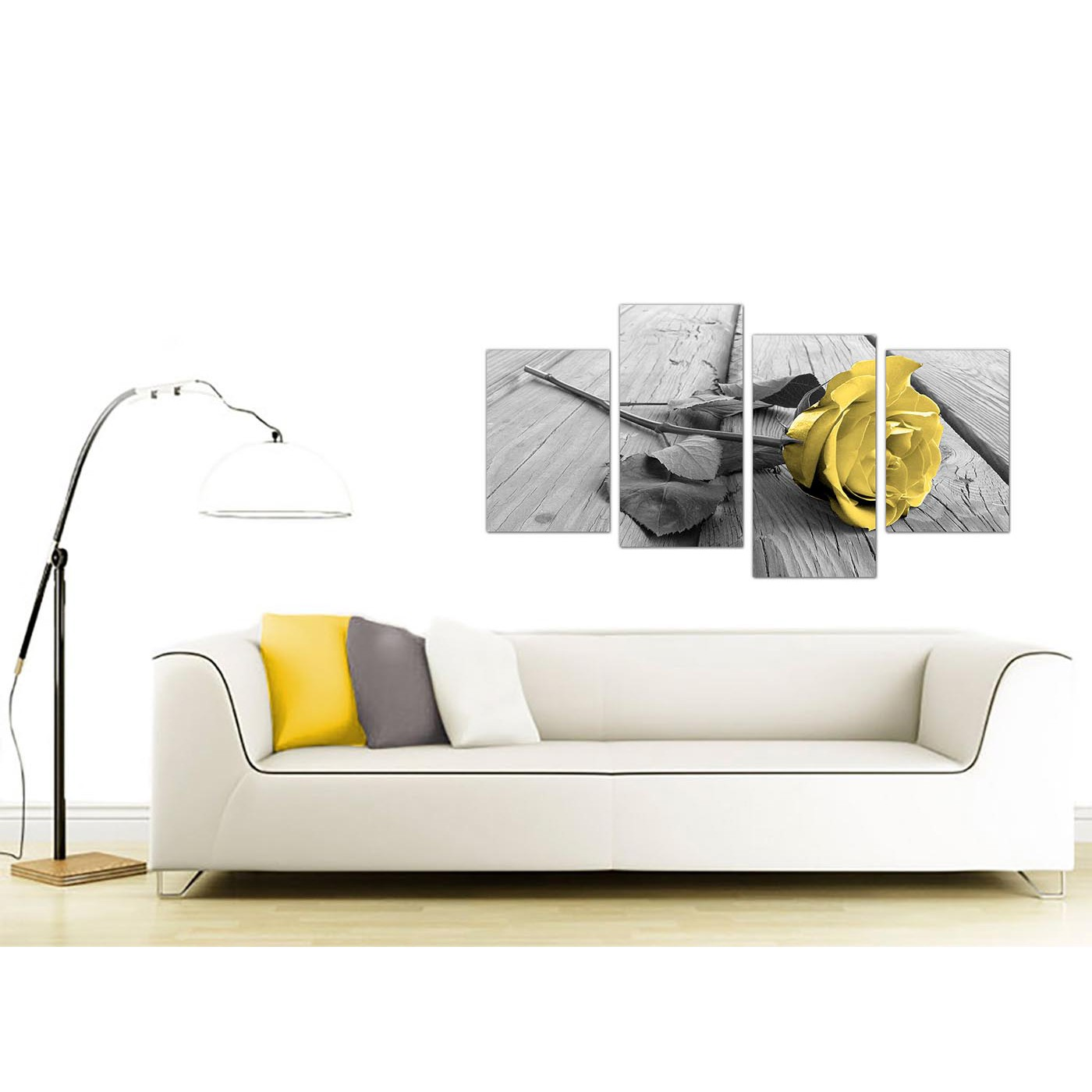 Canvas Art of Yellow Rose Pictures Black White Grey for Living Room