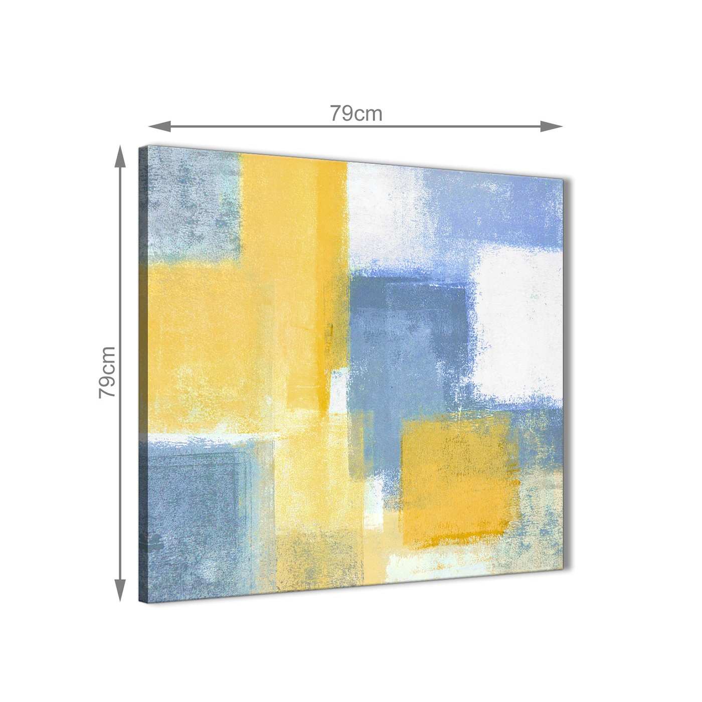 Mustard Yellow Blue Abstract Office Canvas Wall Art Decor 1s371l ...