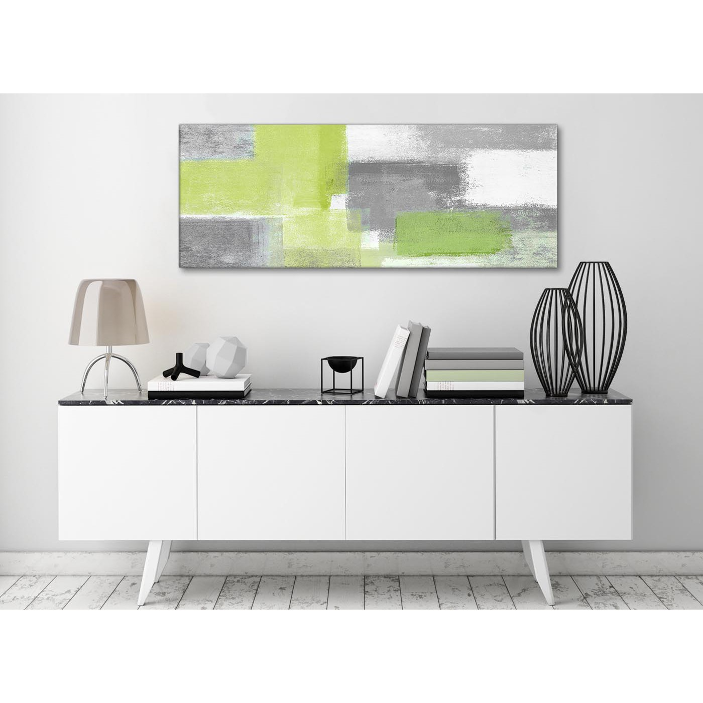 Lime Green Grey Living Room Canvas Wall Art Accessories - Abstract ...