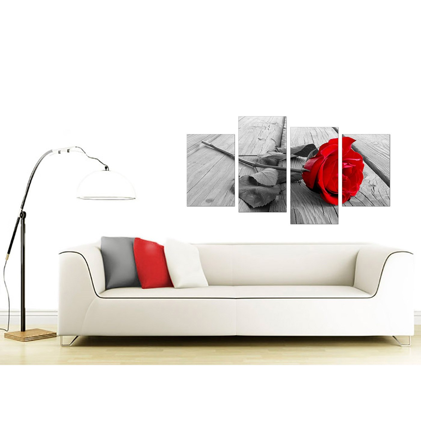 Floral Canvas Wall Art in Red Black and White - For Living Room