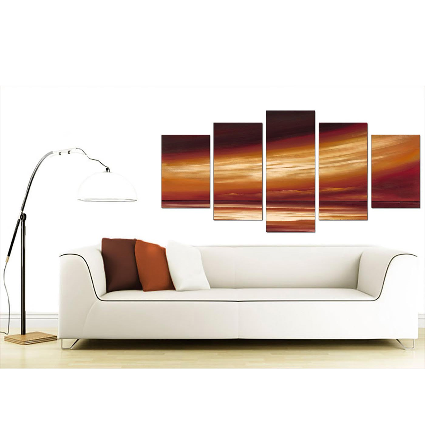 Extra Large Brown Abstract Canvas Art - 5 Part