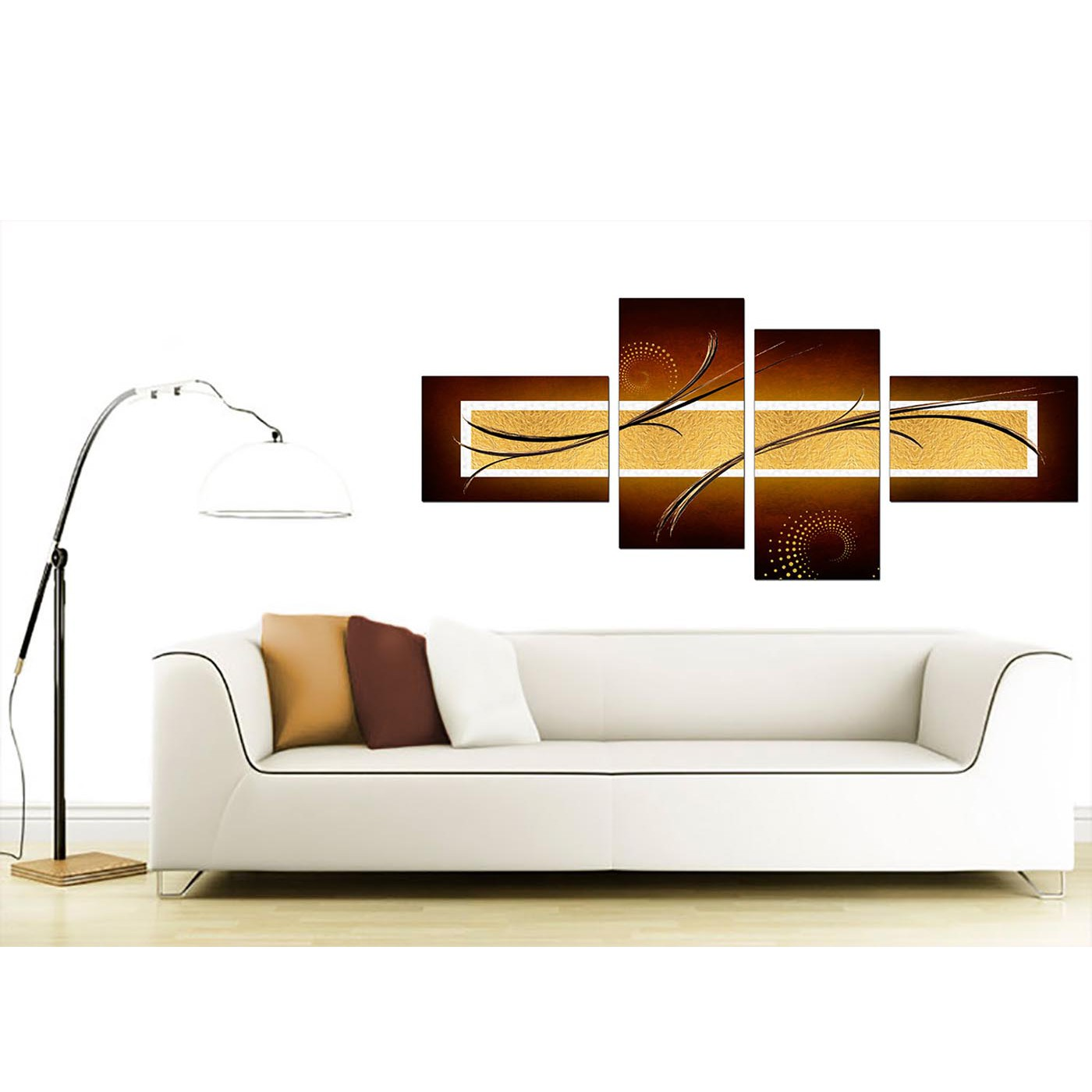 Large Living Room Abstract Blue And Gold