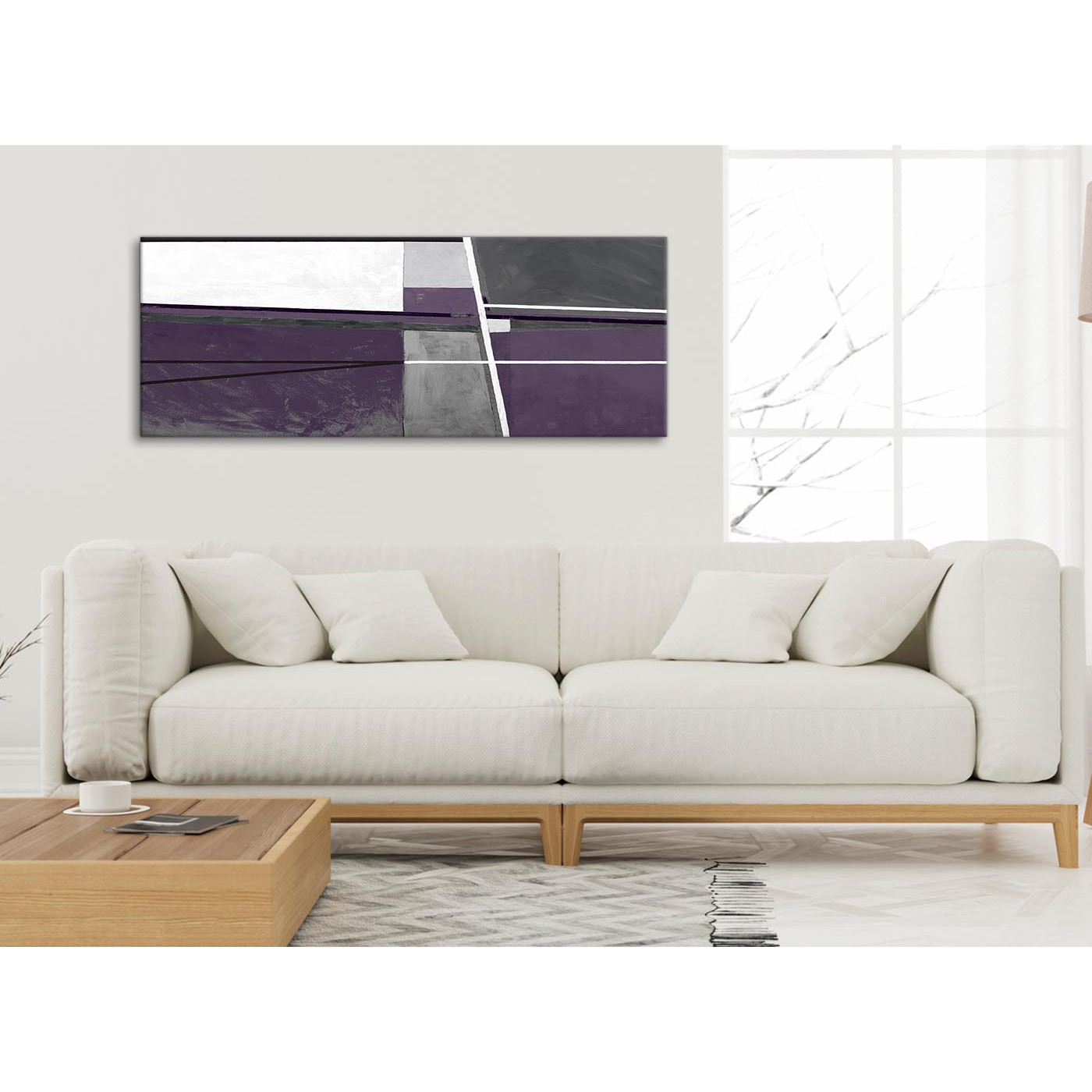 Display Gallery Item 4. Panoramic Aubergine Grey Painting Living Room ...