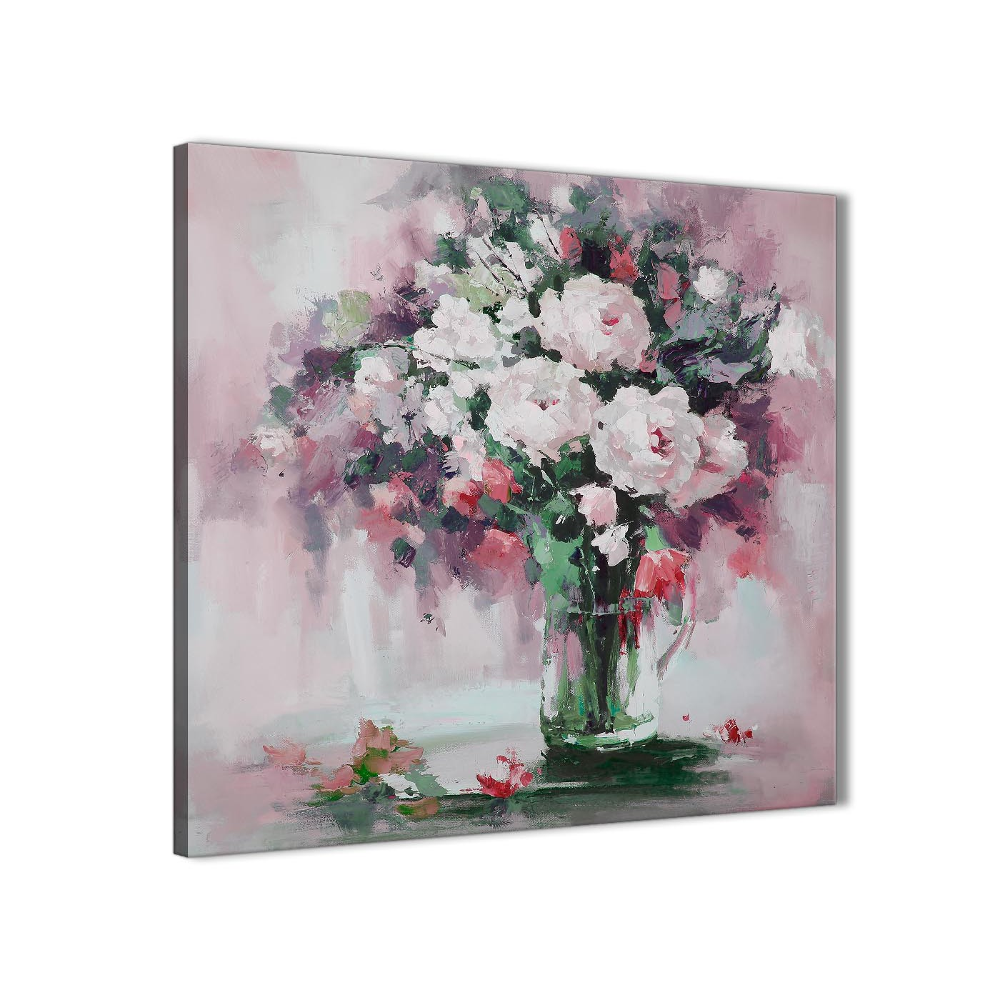 Blush pink flowers painting abstract office canvas pictures accessories 1s441l 79cm square print