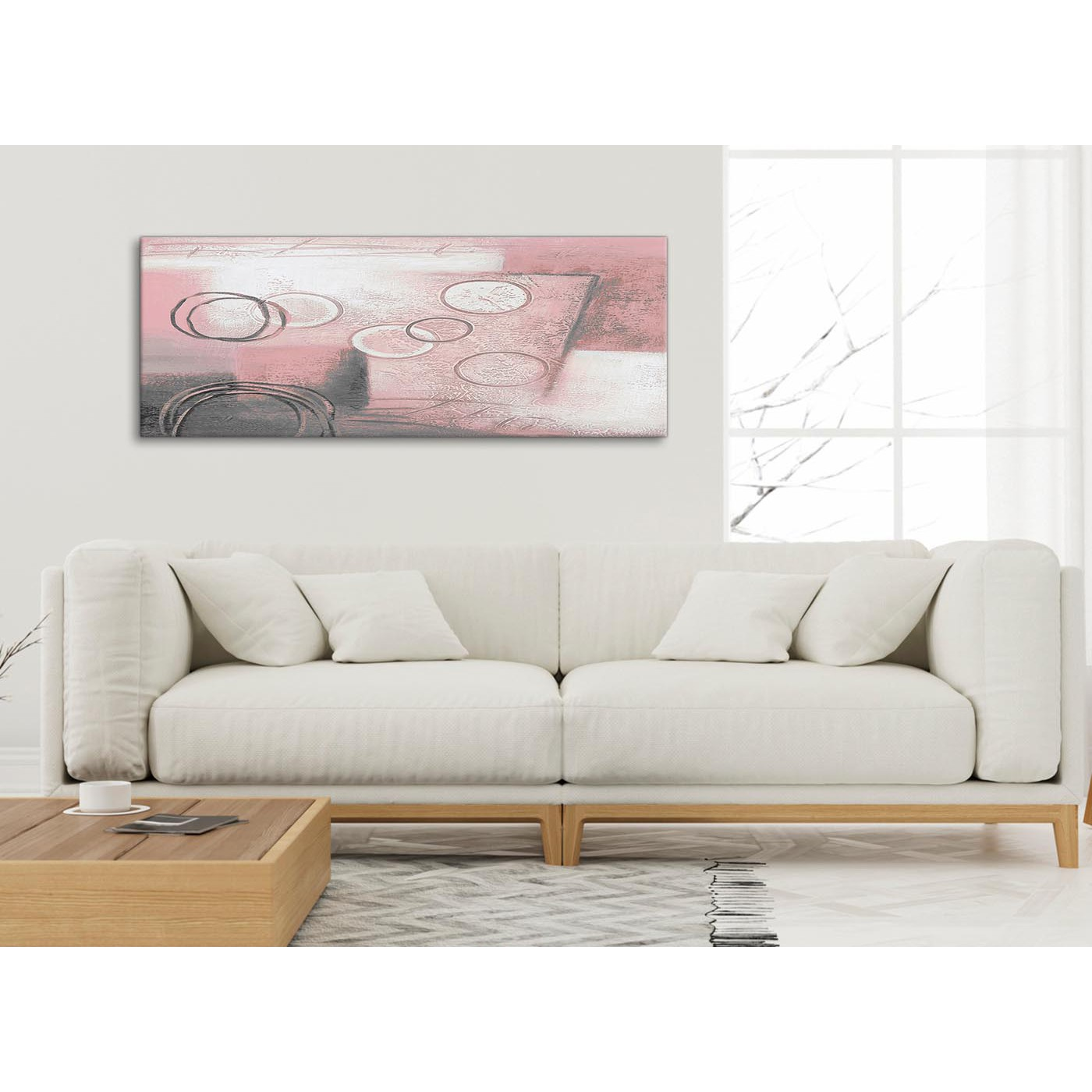 Blush Pink Grey Painting Living Room Canvas Wall Art Accessories ...