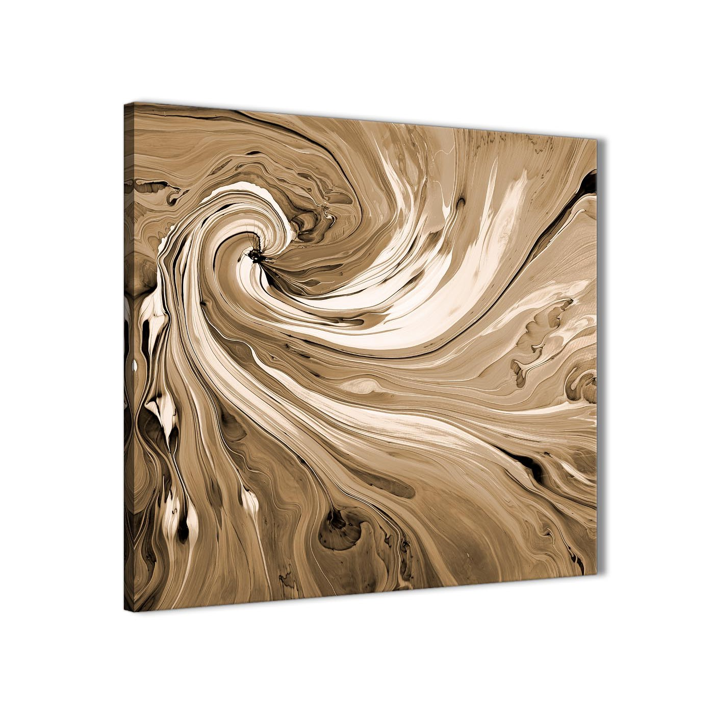 Modern Brown Cream Swirls Modern Abstract Canvas Wall Art Modern 64cm  Square 1S349M For Your Kitchen Display Gallery Item 1 ...