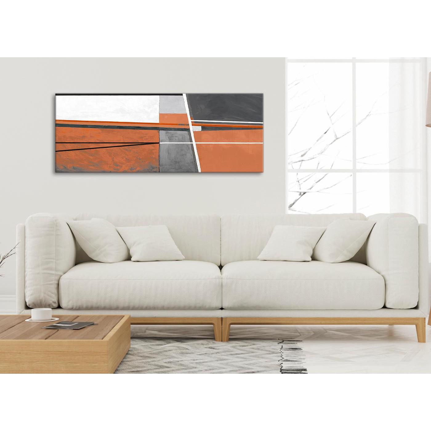 Burnt Orange Grey Painting Bedroom Canvas Pictures Accessories ...