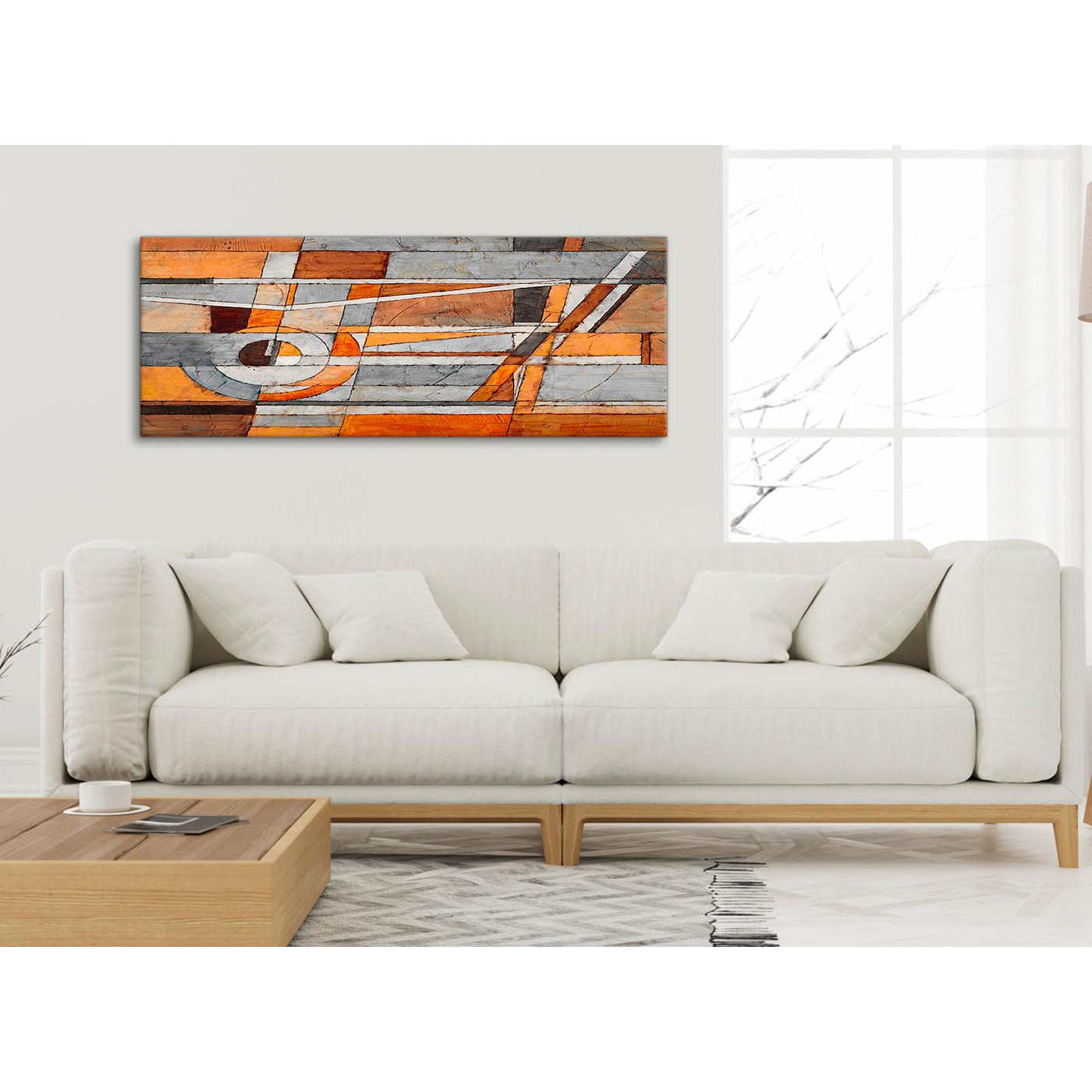 Burnt orange grey painting bedroom canvas pictures - Burnt orange paint for living room ...