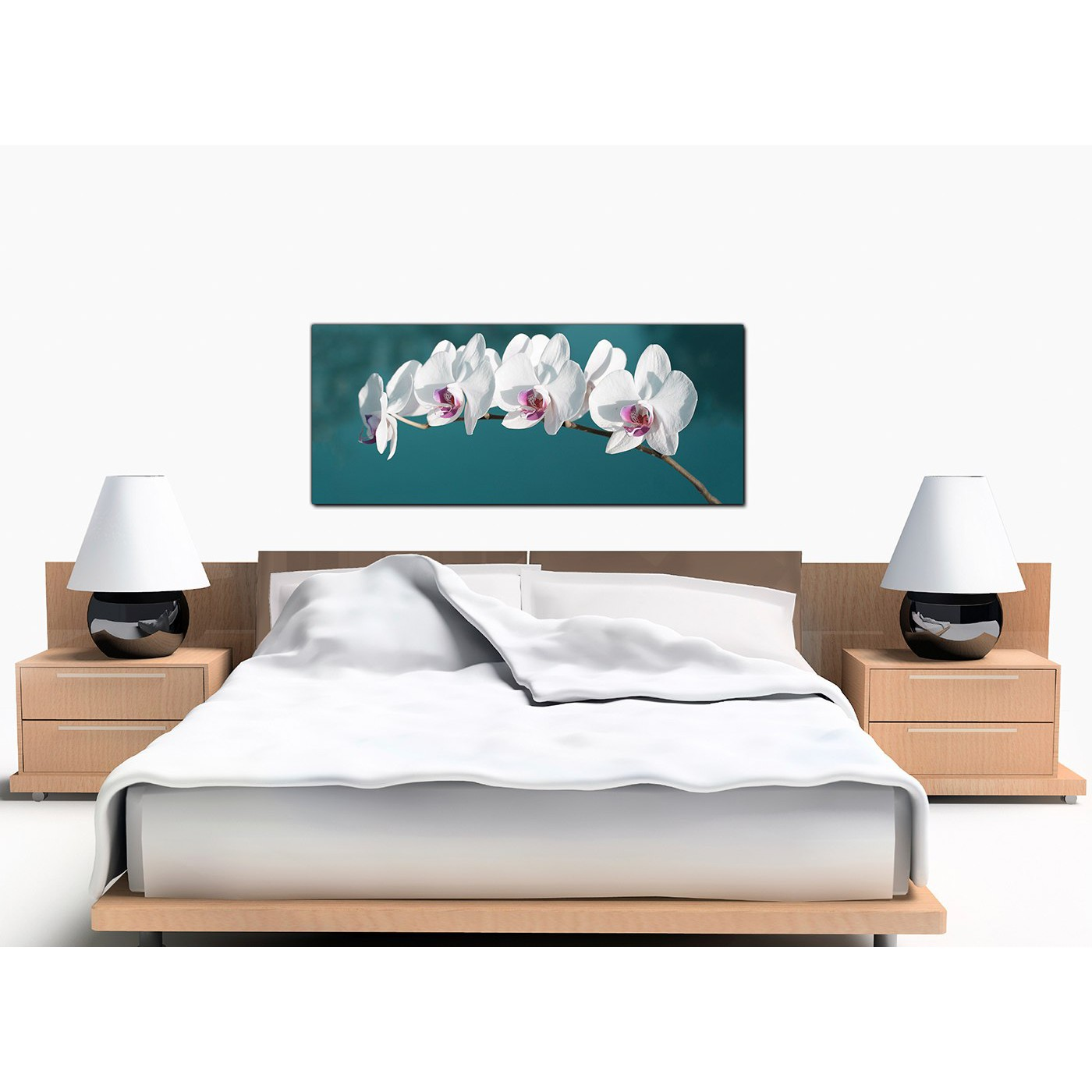 Large Teal Canvas Pictures of White Orchids