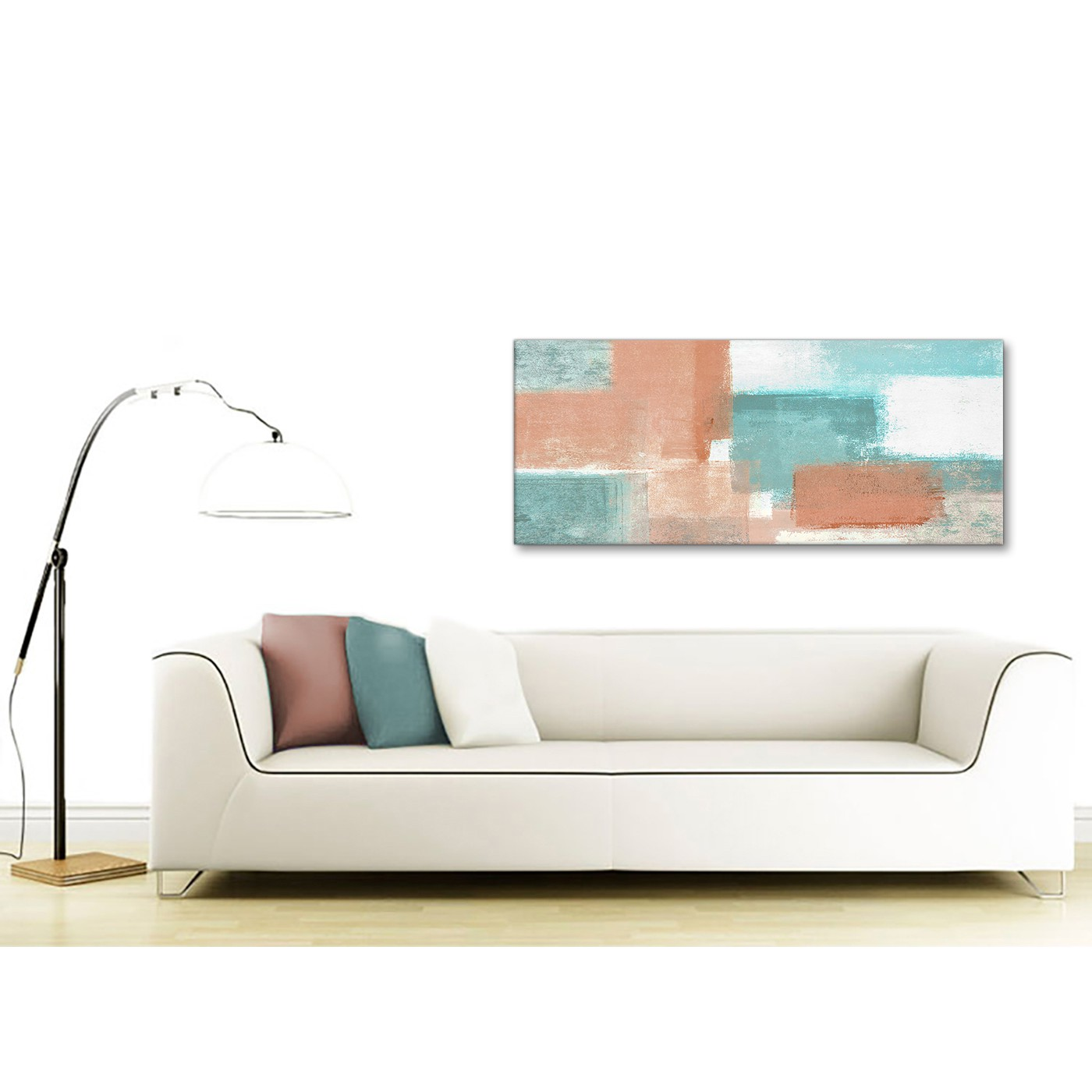 Coral Turquoise Bedroom Canvas Wall Art Accessories - Abstract 1366 ...