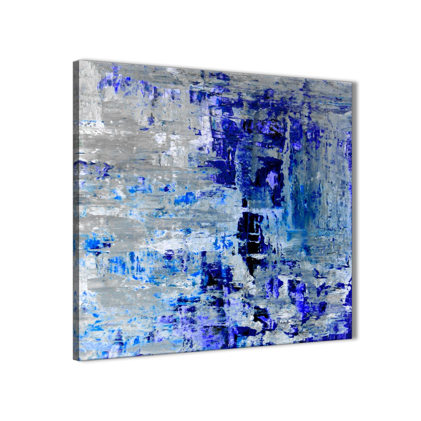 Indigo Blue Grey Abstract Painting Wall Art Print Canvas