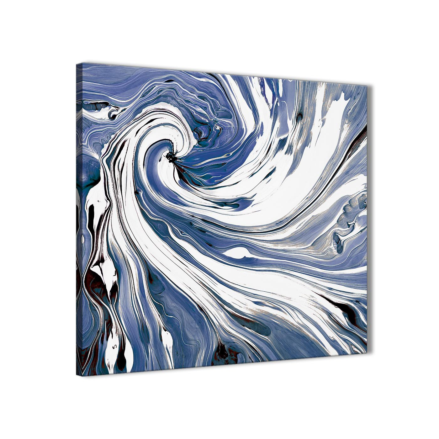 Modern Indigo Blue White Swirls Modern Abstract Canvas Wall Art Modern 64cm  Square 1S352M For Your Display Gallery Item 1 ...