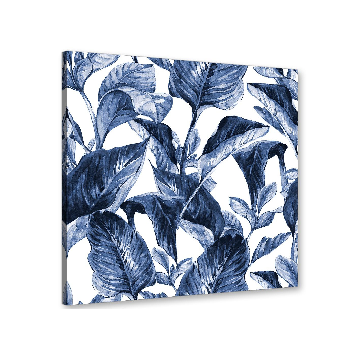 Indigo Navy Blue White Tropical Leaves Canvas Wall Art Modern