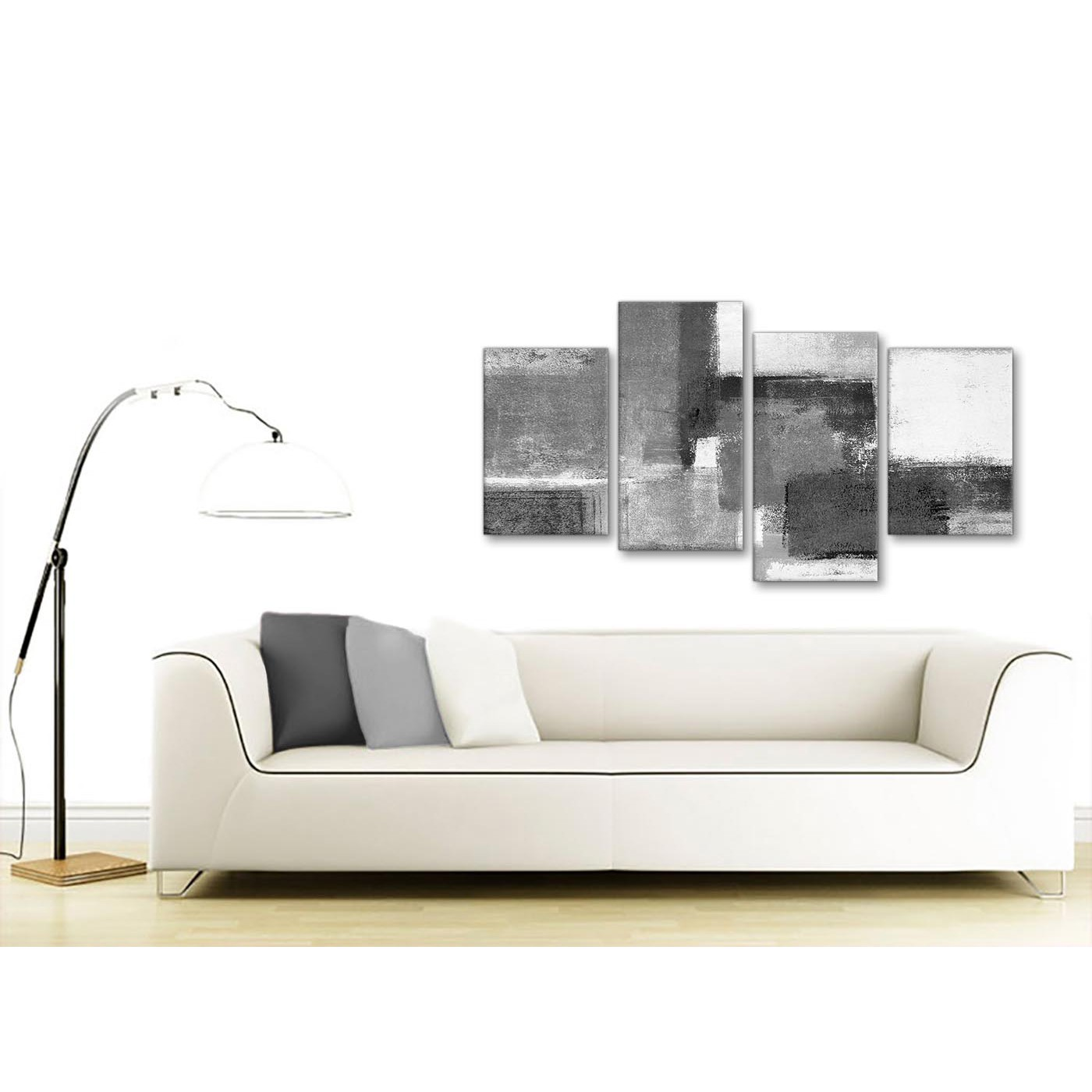 Bedroom Canvas Wall Art Uk: Large Black White Grey Abstract Living Room Canvas