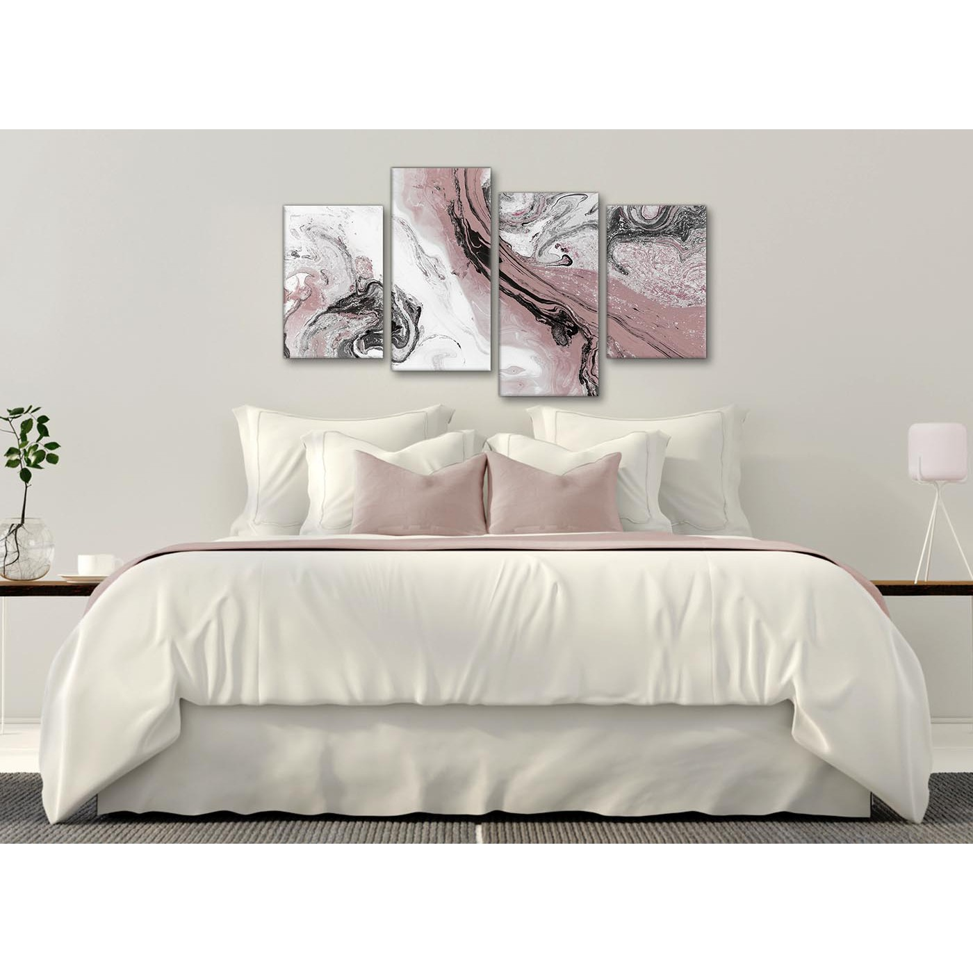 Large Blush Pink And Grey Swirl Abstract Bedroom Canvas Wall Art Decor 4463 130cm Set Of Prints