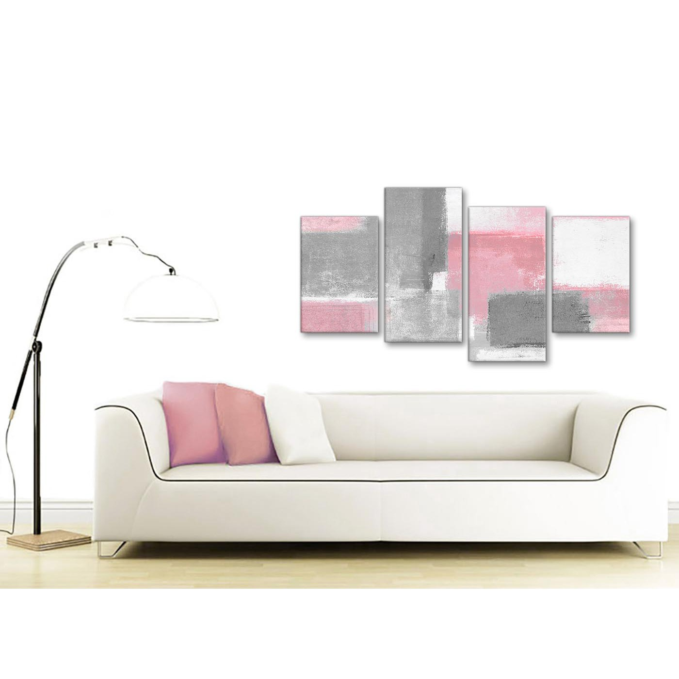Large Blush Pink Grey Painting Abstract Bedroom Canvas