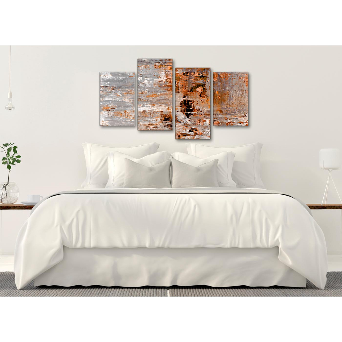Large burnt orange grey painting abstract bedroom canvas - Burnt orange bedroom accessories ...
