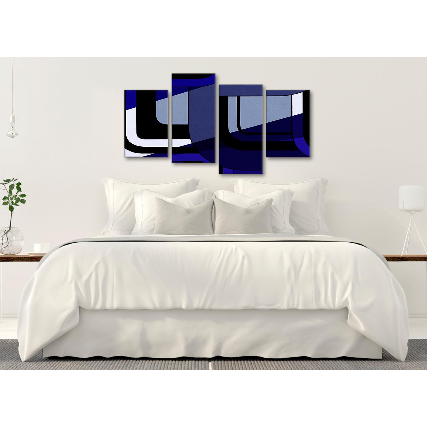 large indigo navy blue painting abstract bedroom canvas