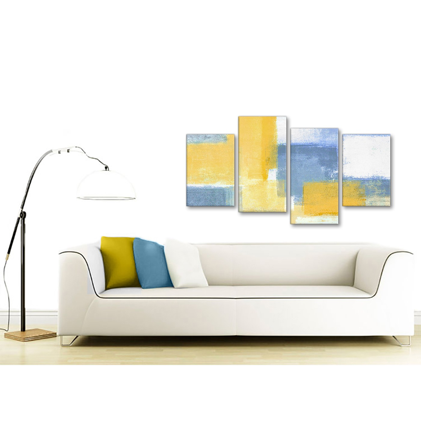 Large Mustard Yellow Blue Abstract Living Room Canvas Pictures Decor ...