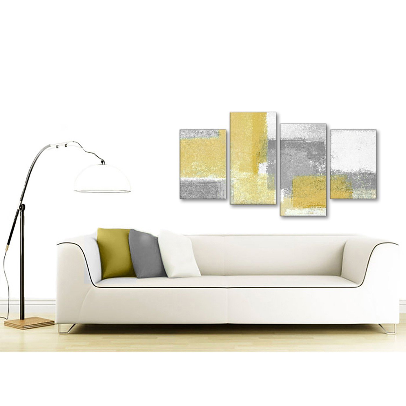 Large Mustard Yellow Grey Abstract Living Room Canvas Wall