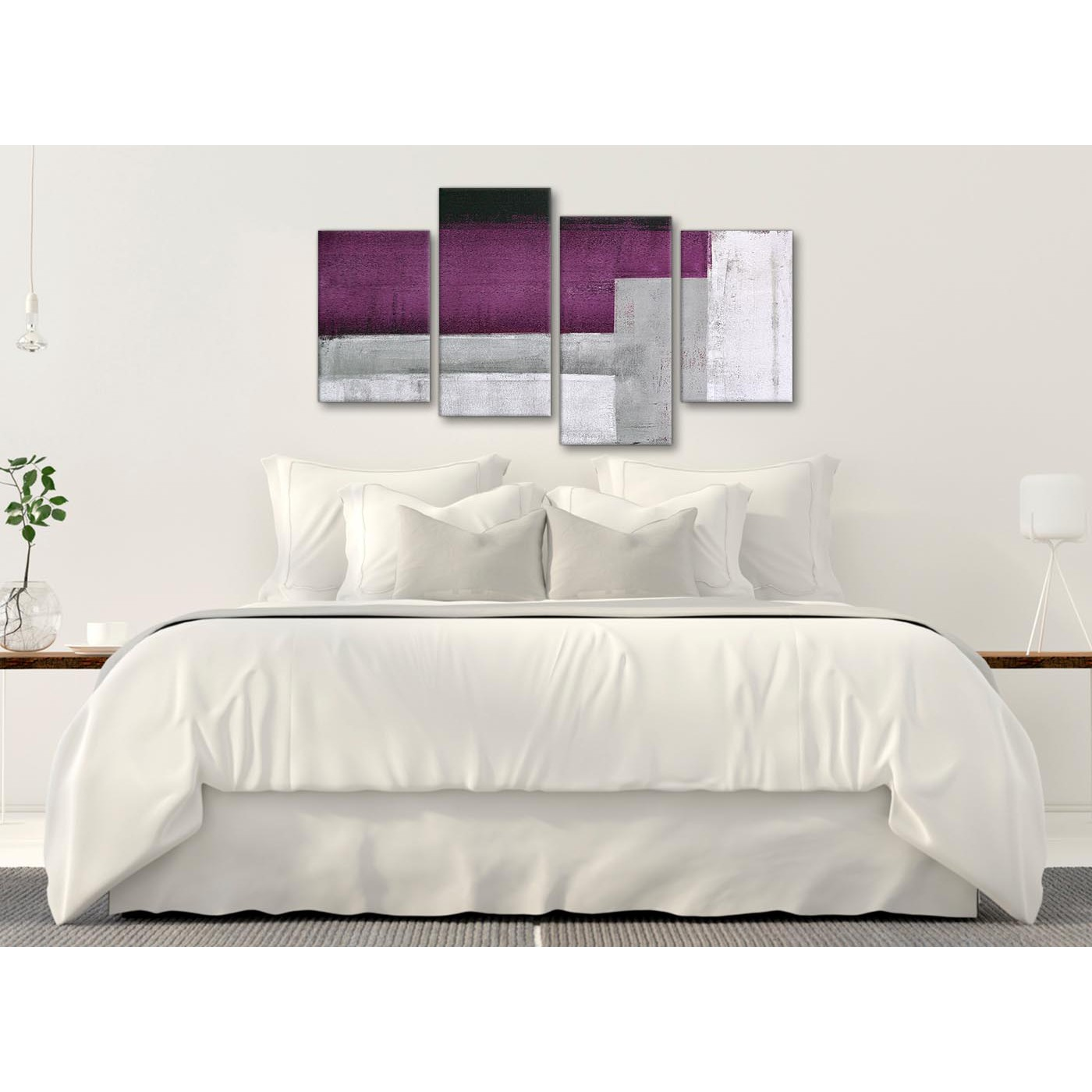 Large purple grey painting abstract bedroom canvas - Purple and grey living room accessories ...
