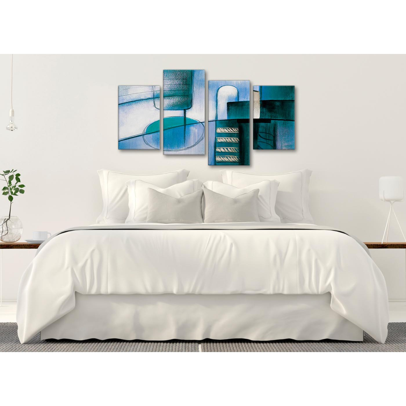 Large Art For Living Room Uk: Large Teal Cream Painting Abstract Bedroom Canvas Wall Art