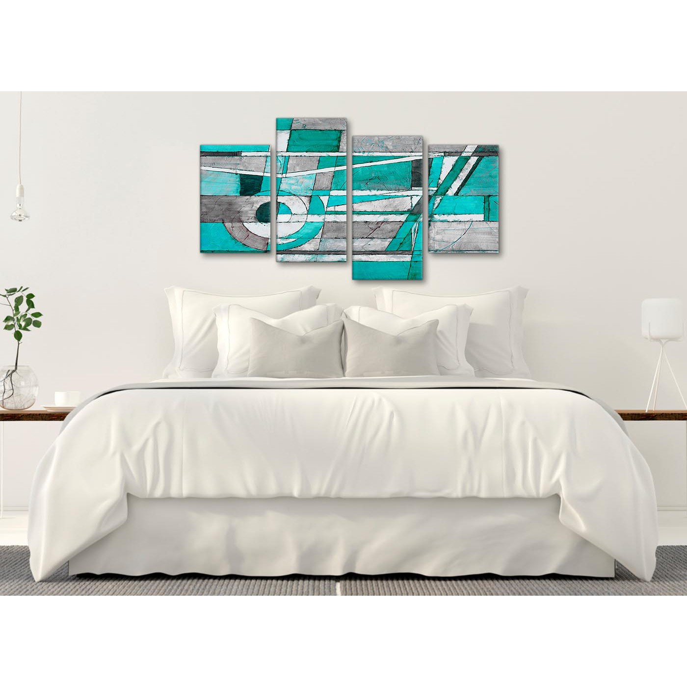 Bedroom Canvas Wall Art Uk: Large Turquoise Grey Painting Abstract Bedroom Canvas Wall