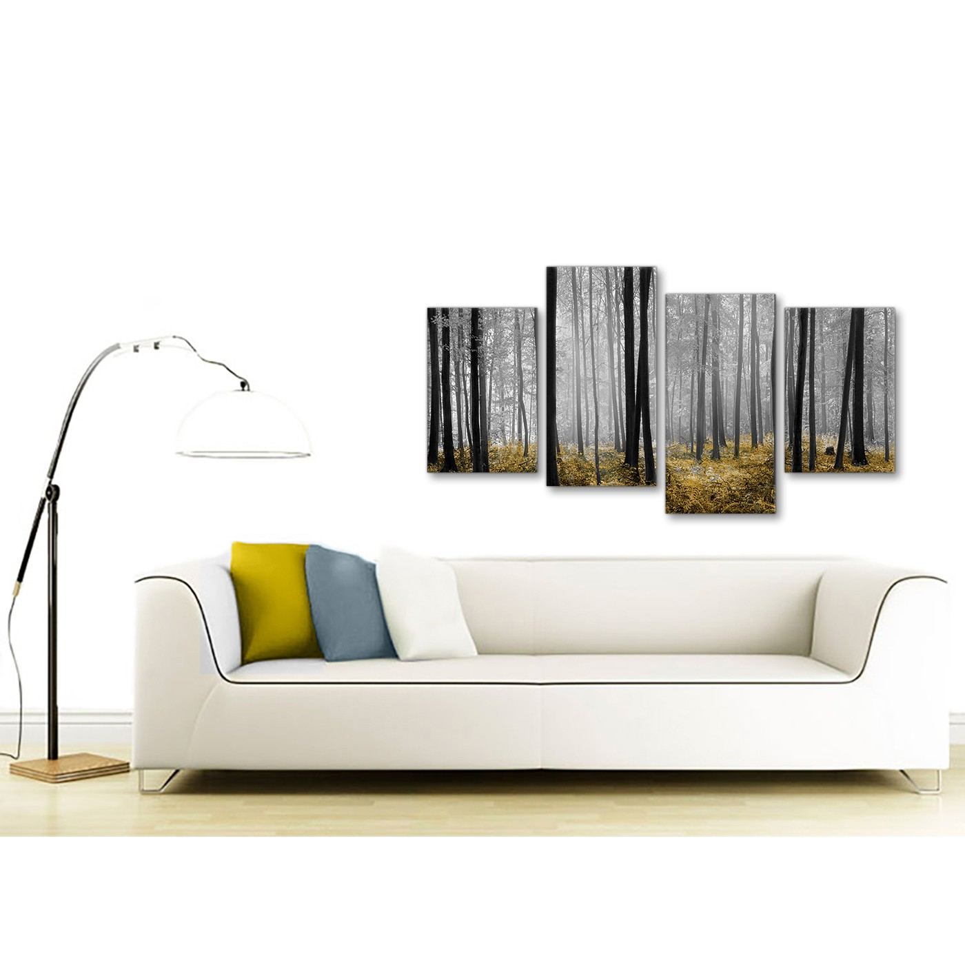 Foresthills Bedroom Large2: Large Yellow And Grey Forest Woodland Trees Bedroom Canvas