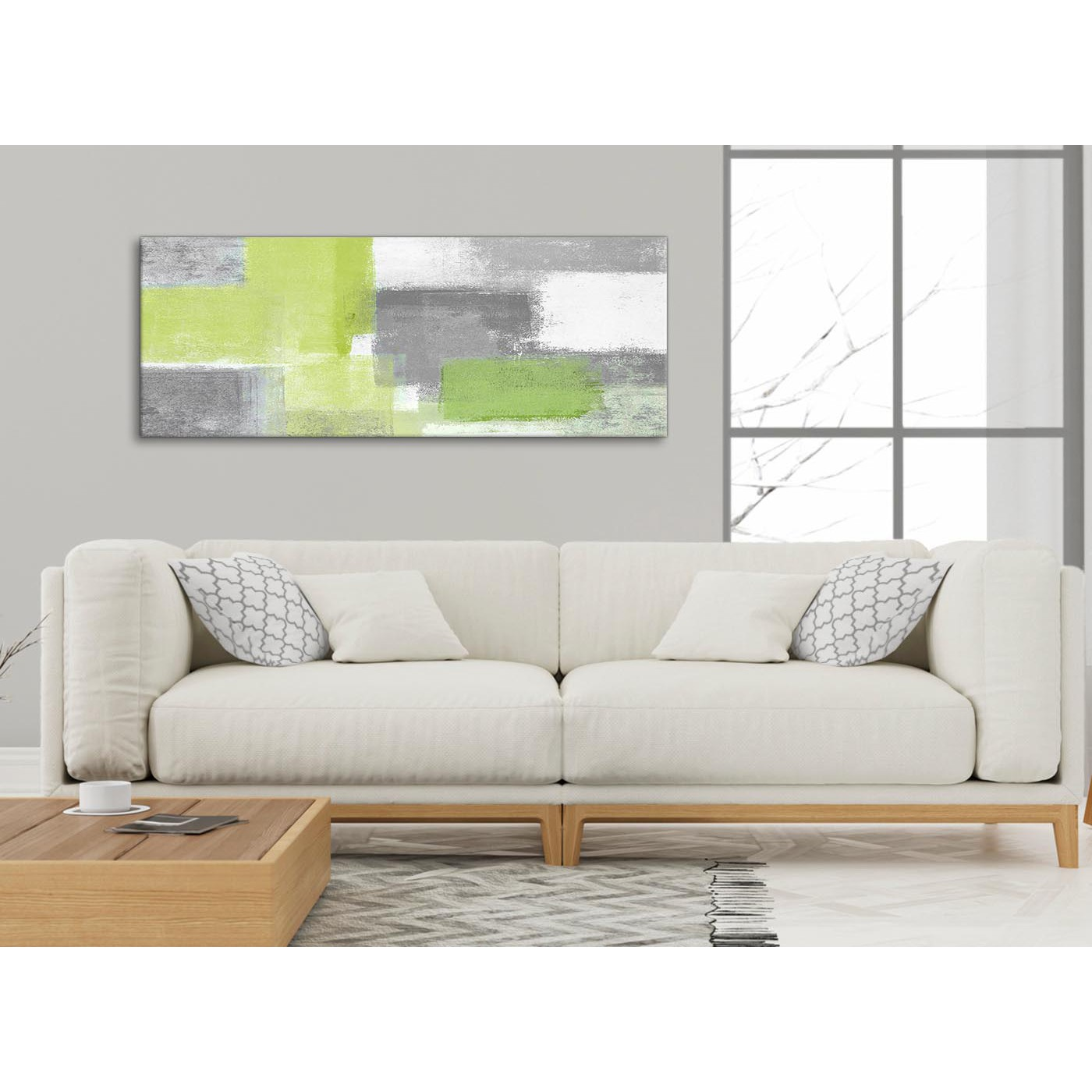 Display Gallery Item 3; Modern Lime Green Grey Abstract   Living Room  Canvas Wall Art Accessories   Abstract 1369   Display Gallery Item 4