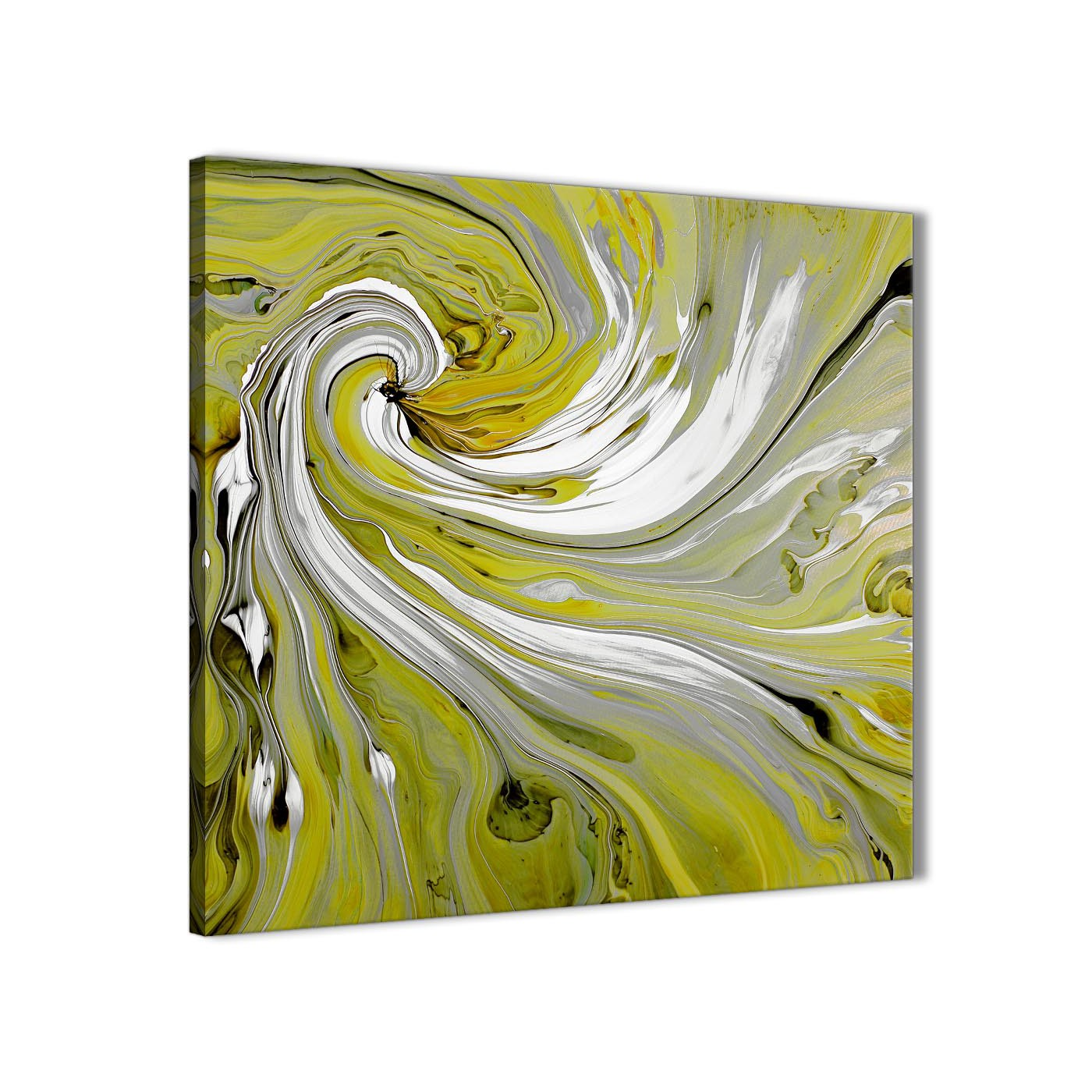Marvelous Modern Lime Green Swirls Modern Abstract Canvas Wall Art Modern 79cm Square  1S351L For Your Dining Display Gallery Item 1 ...