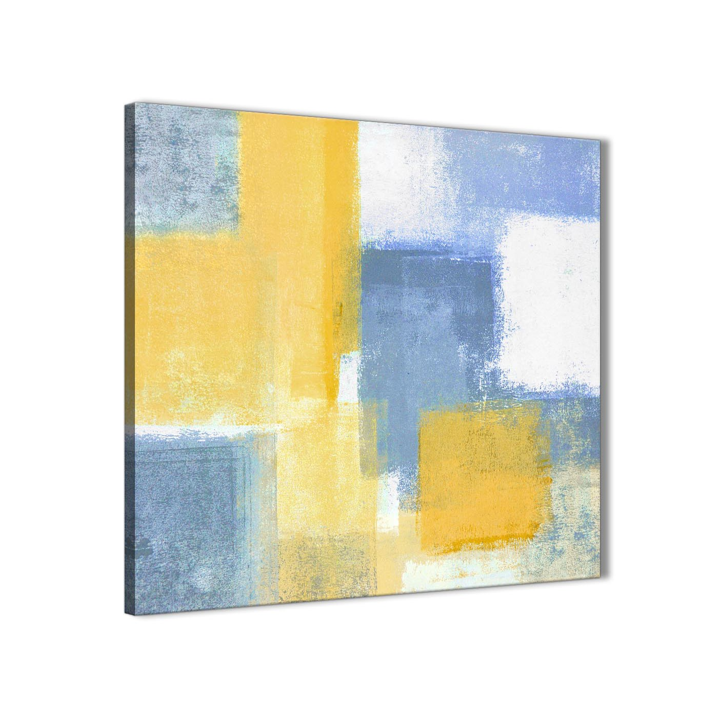 Mustard Yellow Blue Abstract Bedroom Canvas Wall Art Decor 1s371l 79cm Square Print