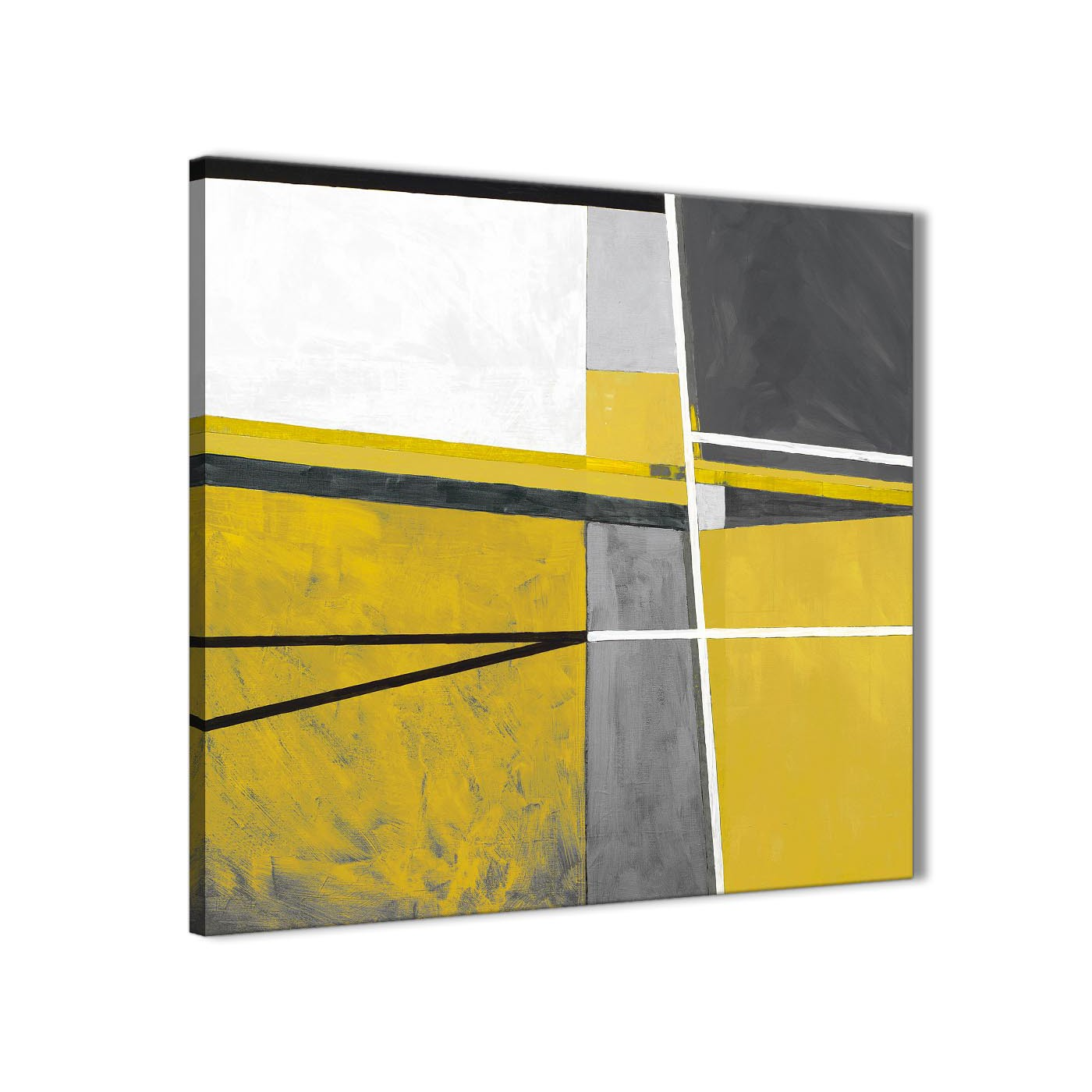 Mustard Yellow Grey Painting Abstract Office Canvas Pictures Decor ...