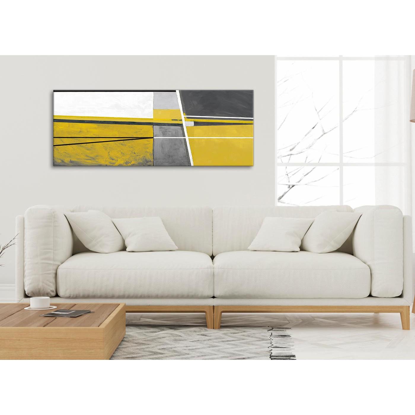Mustard yellow grey painting living room canvas wall art - Mustard grey and white living room ...