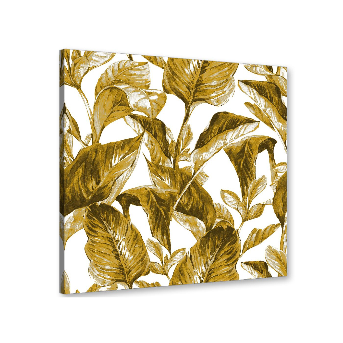 Mustard Yellow White Tropical Leaves Canvas Wall Art Print - Modern ...